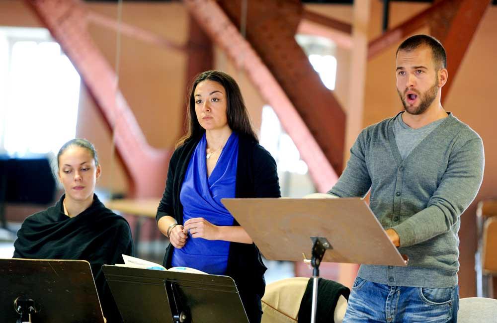 Répétition des Caprices de Marianne : Zuzana Markova, Aurélie Fargues et Philippe-Nicolas Martin. © Alain Julien